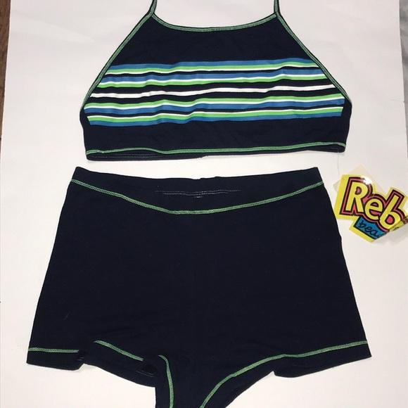 34b588e17f Rebel Beach Swim   Stripe Halter Top Shorts Suit   Poshmark